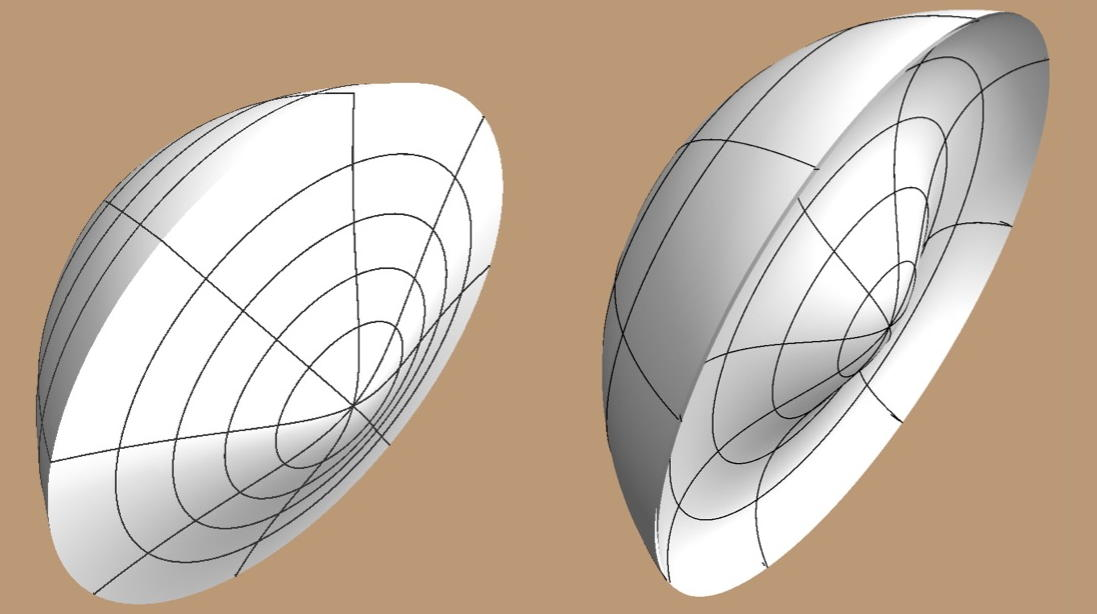 A simulation of two types of aspheric lens. Unpublished figure. (c) Hsin-Hao Yu.